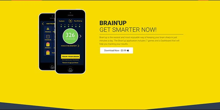 Brain'up website, An example of yellow website color schemes